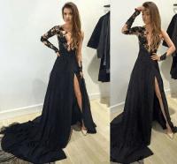 Formal Dress | Black Lace Long Sleeve Long Prom Dress ...