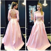 2 Piece Prom Dress Pink Backless Evening Dresses Sexy Long ...