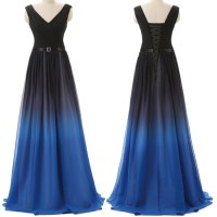 Black Navy Blue Ombre Prom Dresses With V Neck Long ...
