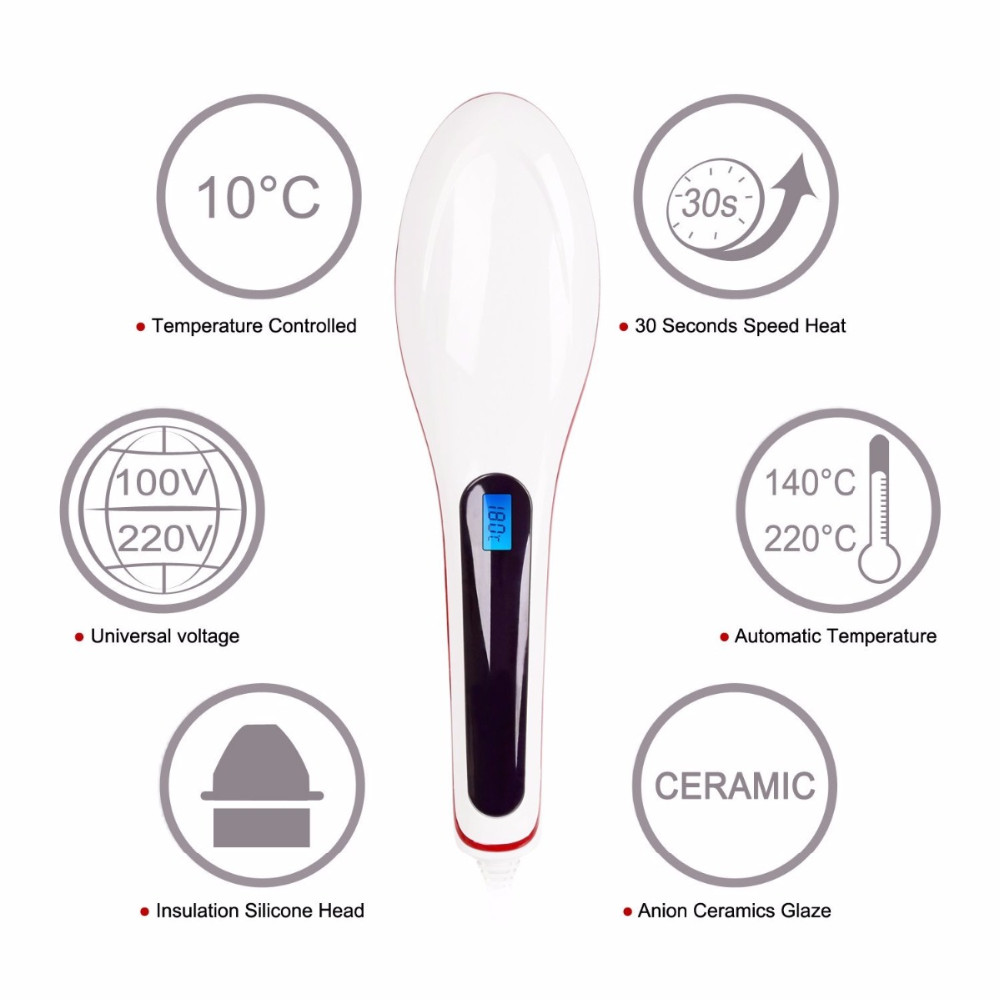 LED Beauty Care Anion Straightener Irons Comb Anion