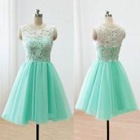 Sleeveless Green Prom Dress, Illusion Lace Prom Dresses ...