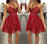 Little Cute | Pretty red lace prom dresses,short prom ...