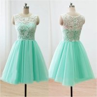 Top Selling Cute Mint Handmade Lace Homecoming Dresses For ...