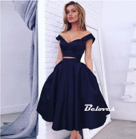 Navy Blue Off The Shoulder Two Piece Satin Cocktail Dress ...