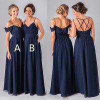 2017 Navy Long bridesmaid dresses, chiffon bridesmaid ...