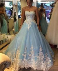 White Lace Light Blue Ball Gown Prom Dresses High Quality ...