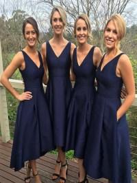 Short Bridesmaid Dress, Navy Blue Bridesmaid Dress, V-Neck ...