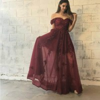 Burgundy lace of shoulder long prom dress, burgundy ...