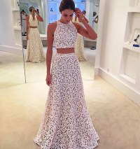 White Lace Formal Gown,Two Piece Prom Dress,Sleeveless ...