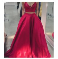 Formal Dress | Red two pieces long prom dress,red evening ...