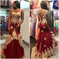 Gold Lace Appliqued Burgundy Prom Dresses,Mermaid Pageant ...