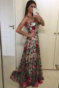 prom dresses, floral prom party dresses, elegant floral ...