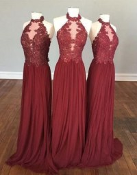 Halter High Neck Burgundy Bridesmaid Dresses,Chiffon ...