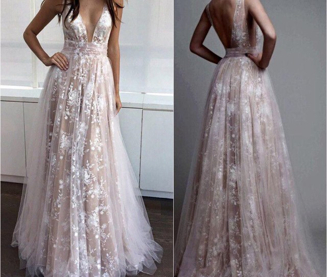 Deep V Neck Nude Line White Lace Prom Dresseslong Formal Dressespd