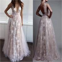 Deep V-neck Nude Line White Lace Prom Dresses,Long Formal ...