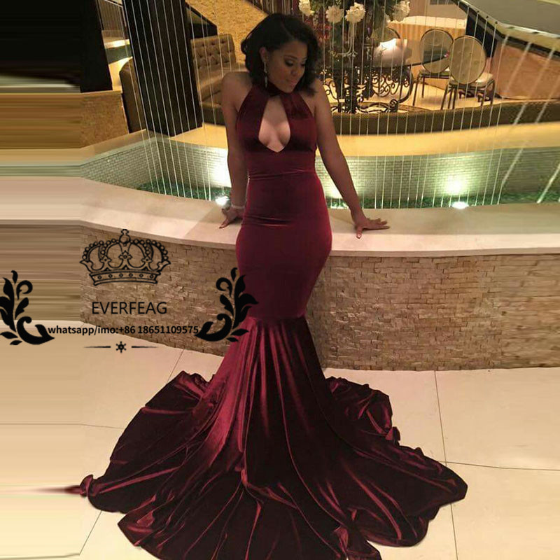 Sexy African Burgundy Velvet Prom Dress Black Girl Prom