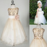 Sparkly Champagne Sequins Long Flower Girl Dress
