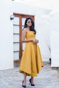 dress day | Simple yellow satin prom dress, cute yellow ...