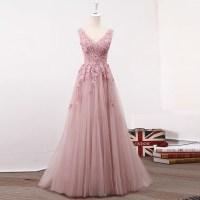 Blush Pink V Neckline Two Straps Lace Evening Prom Dresses ...