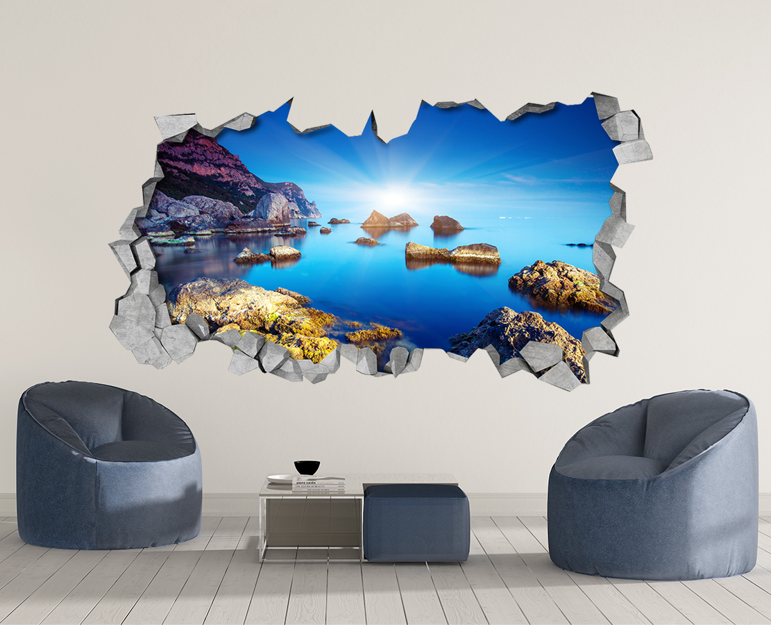 Rocky Sea - 3d Wall Art - Broken Wall - 3d Wall Stickers - Wall