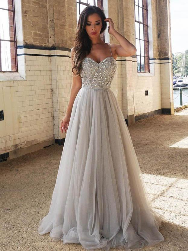 Sweetheart Gray Beaded A line Tulle Evening Prom Dresses Cheap Party Prom Dresses Custom Long