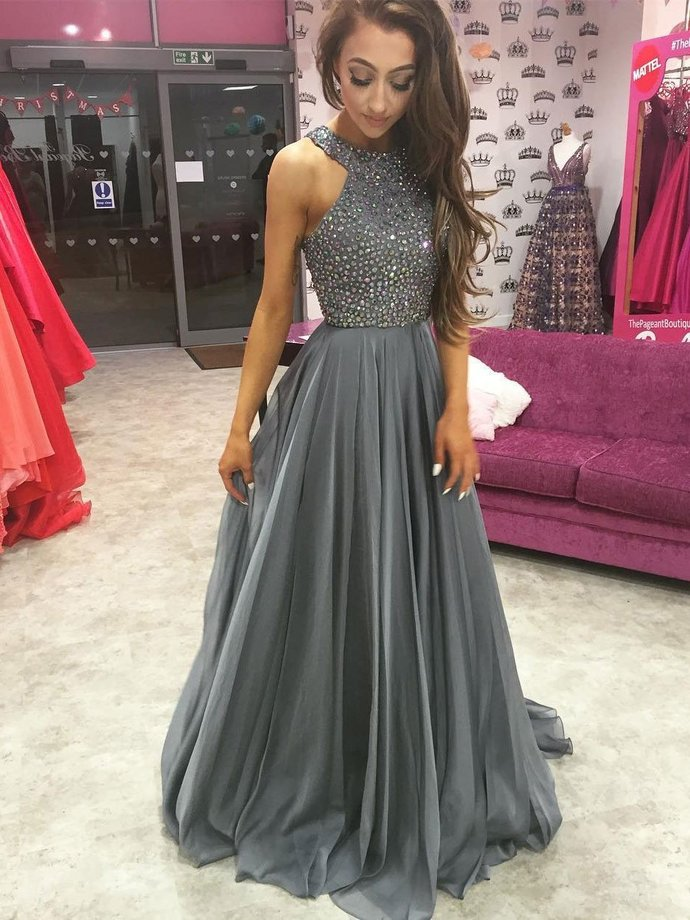 Dark Grey Prom Dress Long Graduation Party Dresses Prom Dresses For Teens  bbpromdress