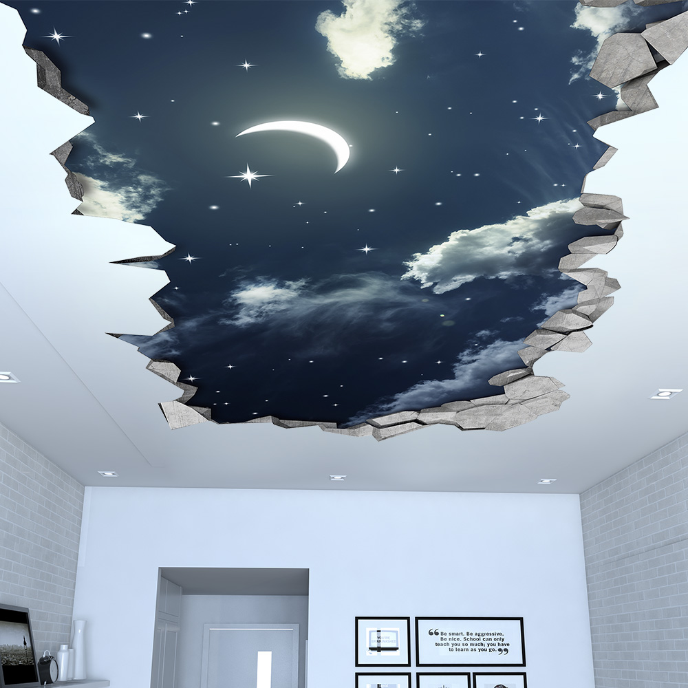 Night Sky 3D Effect Ceiling - 3d Wallpaper - 3d wall decals - 3d