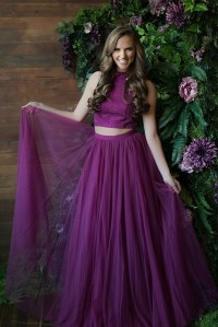 High Neck Prom Dresses,Two Piece Prom Dress,Purple Prom ...