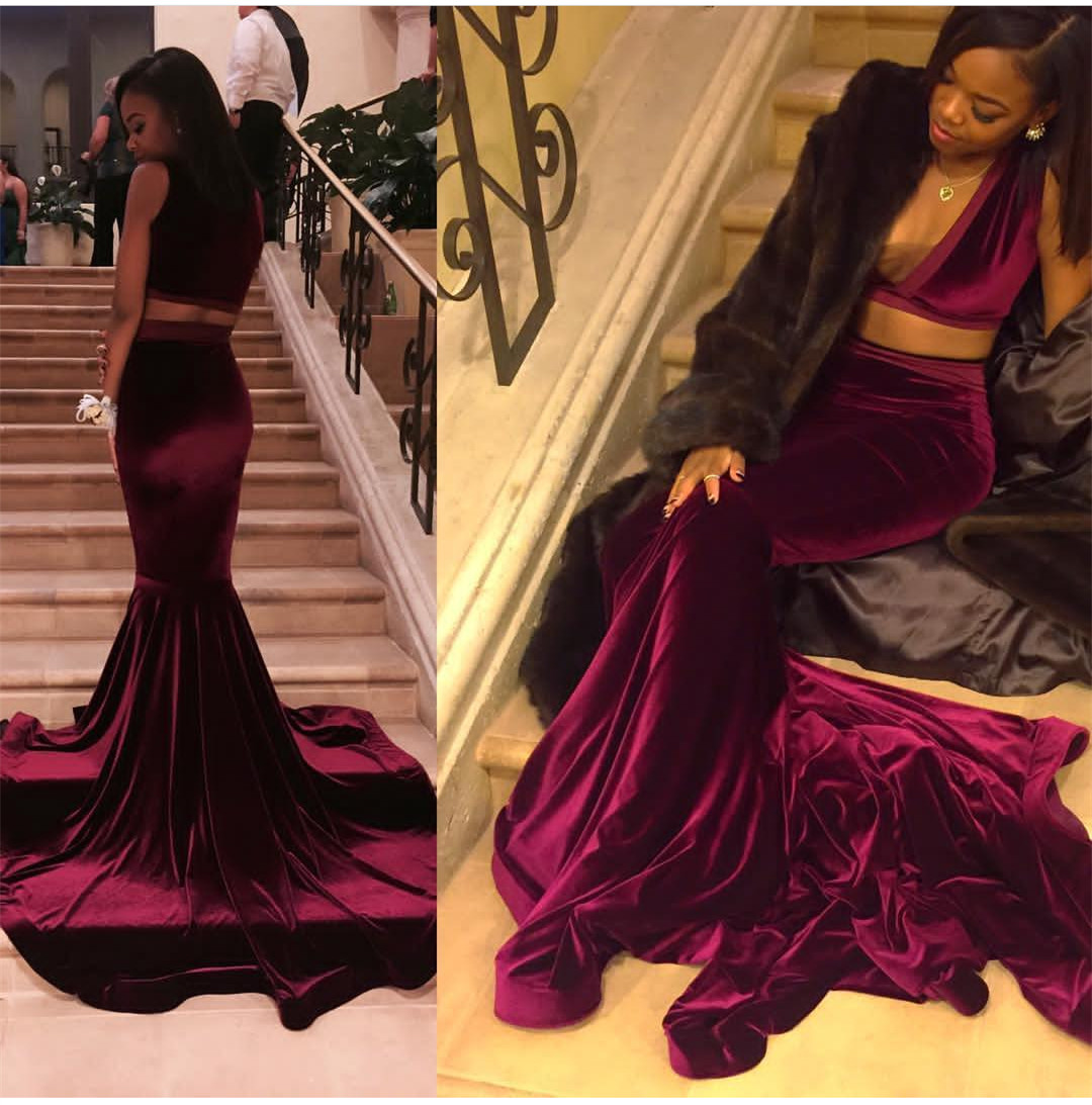 2018 Black Girl Prom Dress Two Pieces Velvet Prom Dress