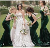 2018 Mermaid Bridesmaid Dress, Velvet Emerald Green ...
