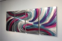 Echo Teal Pink - Abstract Metal Wall Art Contemporary ...