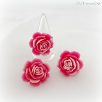 Shabby chic pink rose earrings and ring set, handmade gift ...