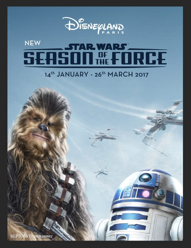 Disneyland Paris Season of the Force Star Wars key visual, featuring Chewbacca and R2D2