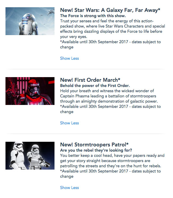 Star Wars shows extended beyond Season of the Force to 30th September 2017