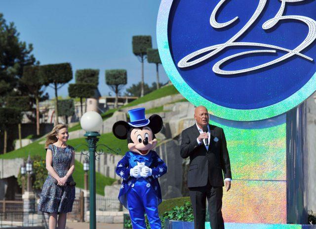 Catherine Powell and Bob Chapek at Disneyland Paris 25th Anniversary opening ceremony