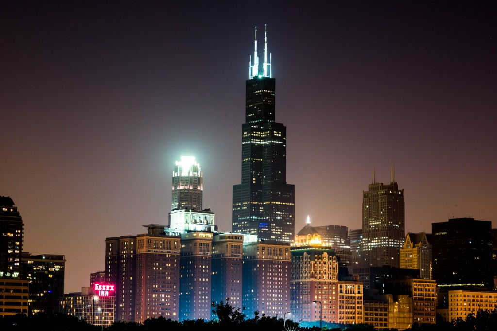 Skyline of Chicago at night