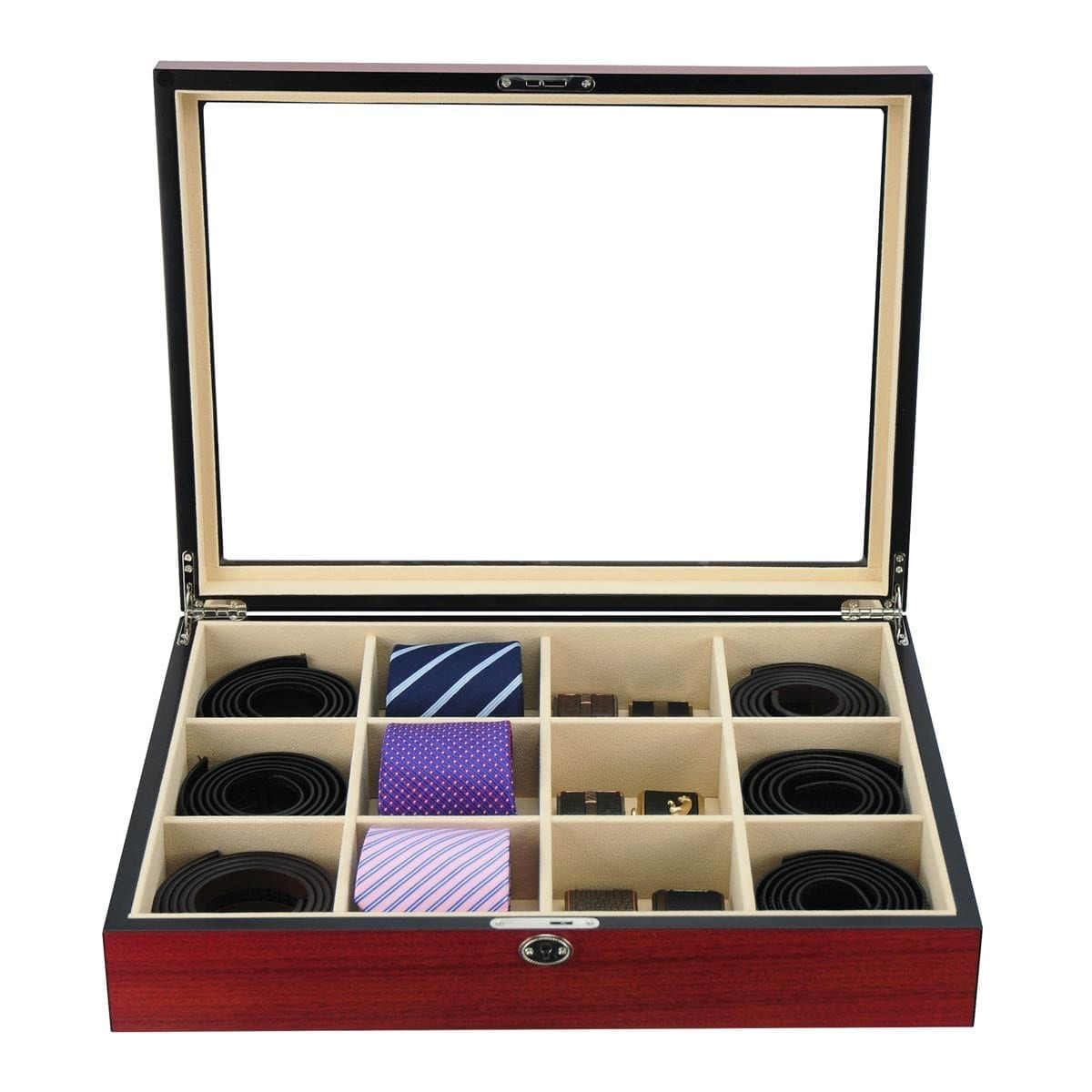 Wooden Tie Box for men matt cherry for 12 ties