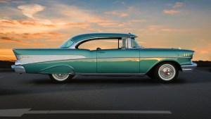1957 Chevrolet at sunset, EastLink freeway.