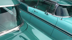 Banner -- 1956 and 1957 Chevrolets, side by side.