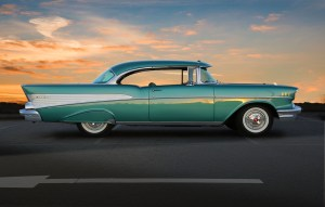 1957 Chevrolet at sunset on the EastLink freeway.