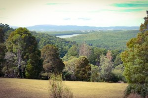 Kalorama (lookout), The Dandenongs – view east to Sylvan Dam.