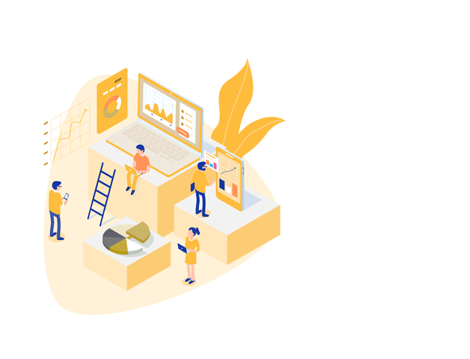 A platform fully meets all your learning needs - yellow illustration with people interacting with various devices