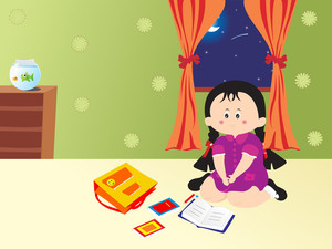 Cute Girl Study In The Room Royalty Free Stock Image Storyblocks
