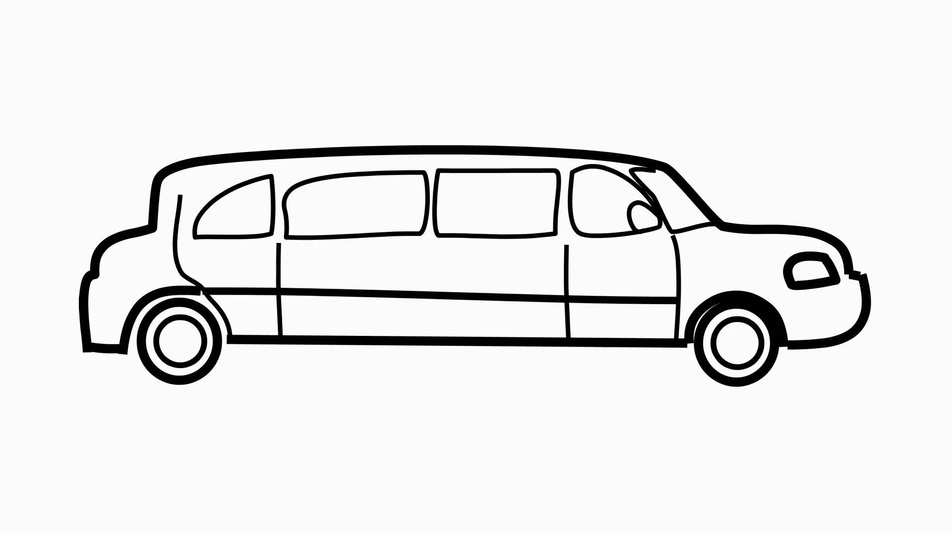 car limousine cartoon illustration hand drawn animation