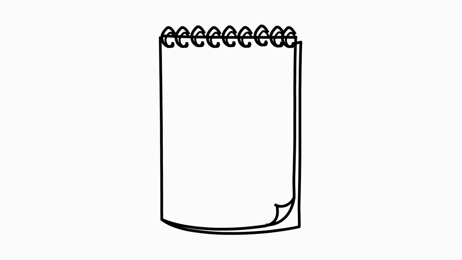 notepad line drawing illustration animation with