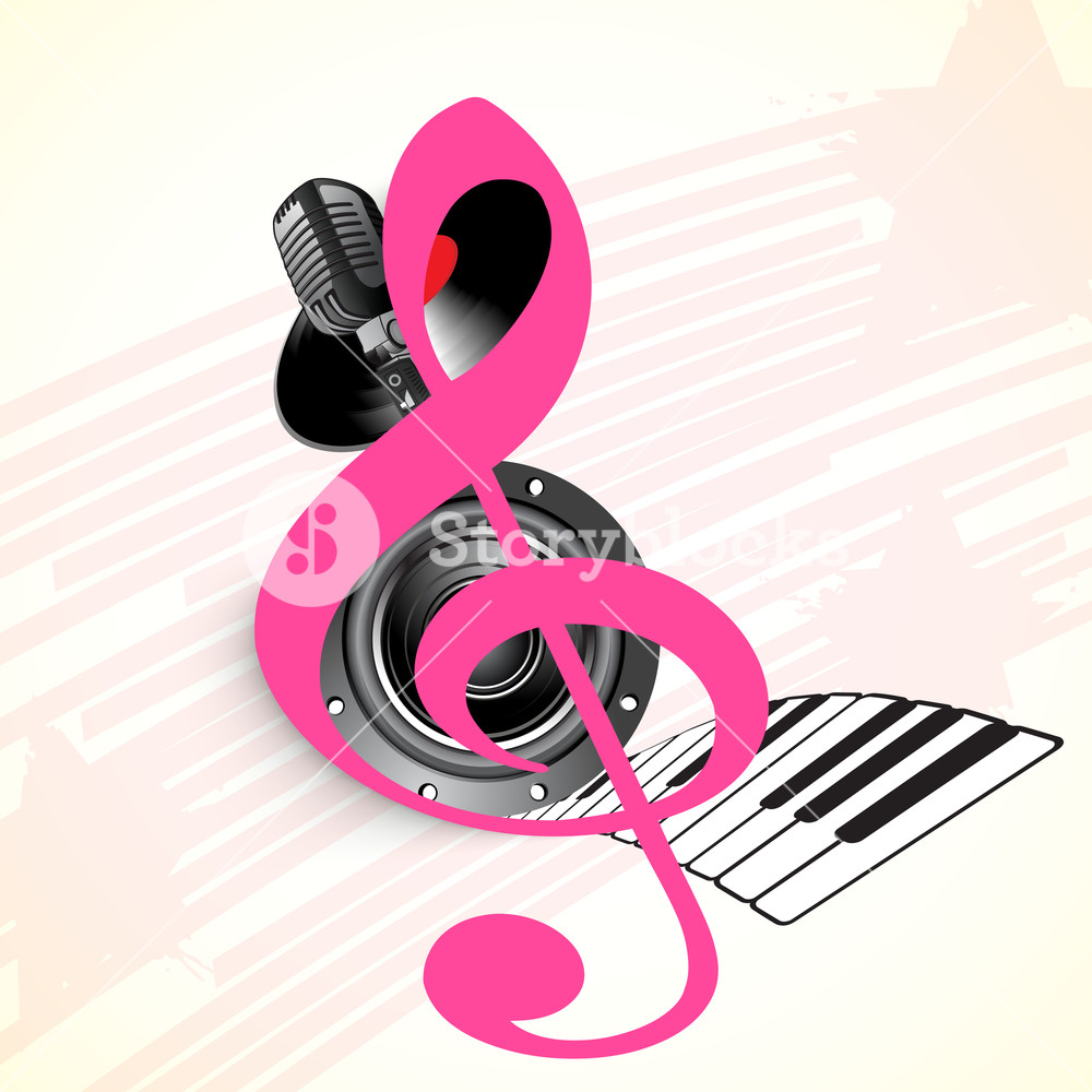 Abstract Musical Concept With Musical Symbol And Mike Royalty Free Stock Image Storyblocks