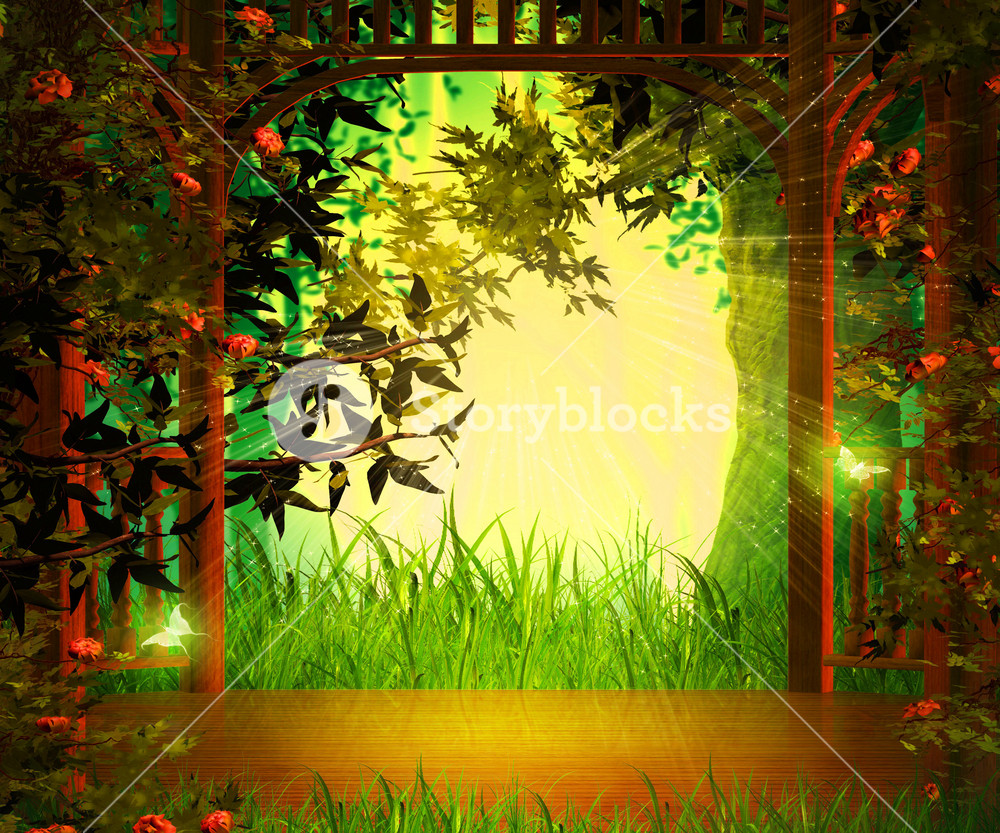 Magic Garden Background Wooden Stage Royalty Free Stock Image Storyblocks