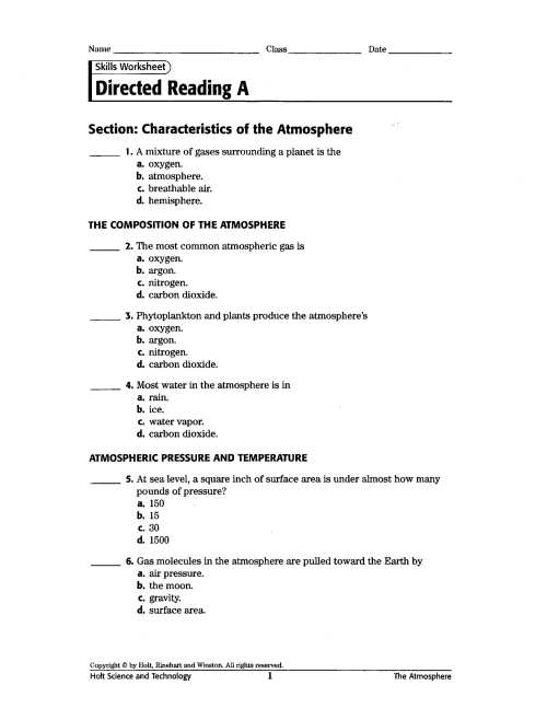 small resolution of Occurrences Of The Atmosphere Worksheet   Printable Worksheets and  Activities for Teachers