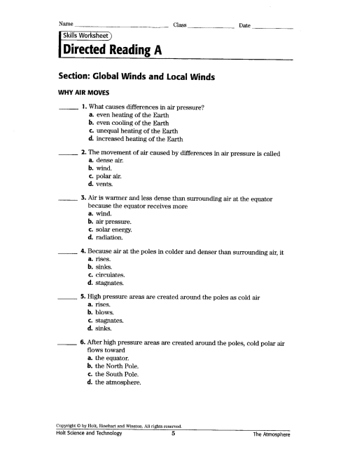 small resolution of Local Winds Worksheet   Printable Worksheets and Activities for Teachers