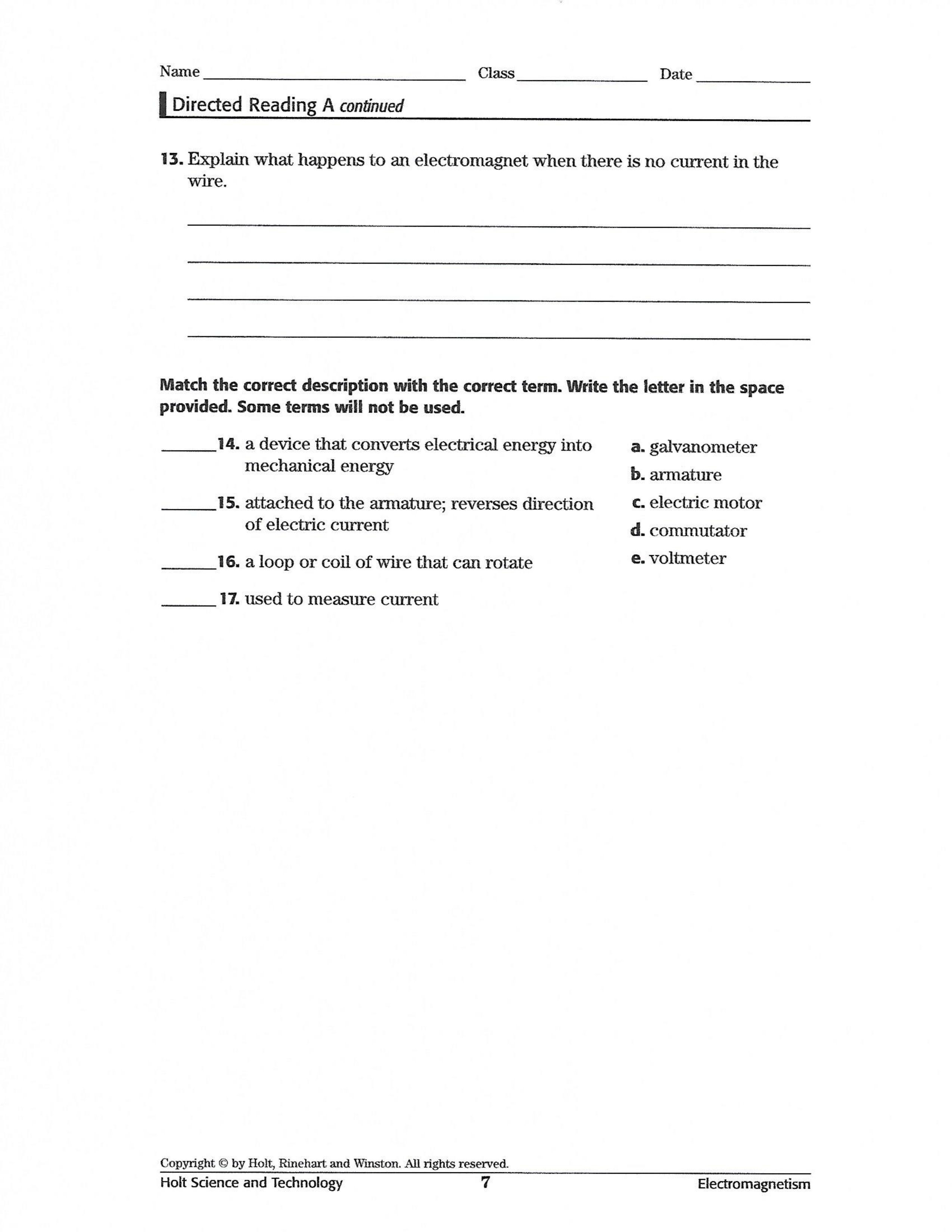 Magnetism From Electricity Worksheet